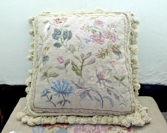 Vintage Tapestry Cushion, Needlepoint Cushion, floral cushion, shabby chic lily, neutral background, scatter cushion pillow