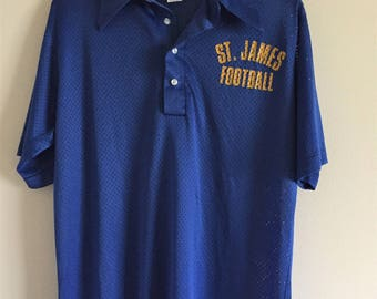 Retro Royal Blue Athletic Polo / St. James Football / Men's Large