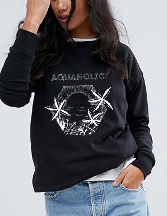Aquaholic | Unisex Crewneck Sweatshirt | Beach shirt | Surfing Tee | Palm trees | Tattoo style | Original artwork | Ocean sunset | ZuskaArt