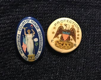 Antique Whitehead & Hoag Co Fraternal Brotherhood Masonic Pins