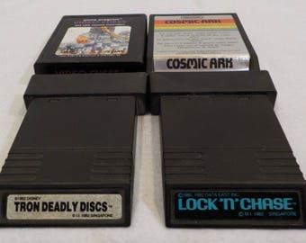 Lot jeu Vintage Atari, Atari cartouches, Vintage jeux vidéo, vidéo d'échecs Lock N Chase Tron arche cosmique