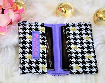 Fabric Business Card Holder. Credit Card Holder. Money Holder. Small Wallet. Card Wallet. Card Holder. Black white and Gold. Card Case.