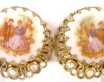 Porcelain AB Rhinestone Courting Couple Vintage Earrings