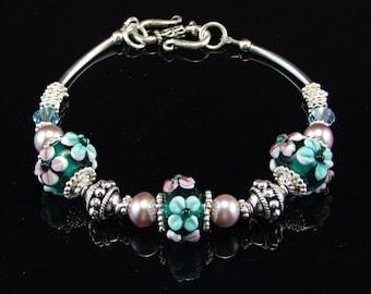 Sterling Silver & Boro Glass Bracelet - BM15