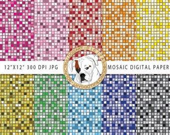 Mosaic Digital Paper mosaic wallpaper mosaic tiles scrapbook downloadable backgrounds invitation patterns commercial use instant download