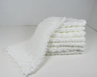 8 WHITE COTTON DISHCLOTHS   8.5 x5 Inches 1 Sets available