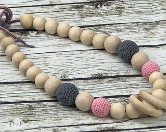 Organic cotton nursing necklace. Mummy and baby teething necklace