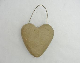 Paper mache heart, paper mache hanging heart, large puffy heart