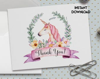 Printable Thank You Card, Unicorn Thank You Card, 5x7 Inch, Baby Shower Thank You, Birthday Thank You, Bridal Shower, Printable No 1082