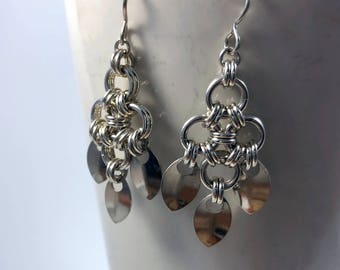 Tiamat Earrings Sterling Silver Chainmaille Scales
