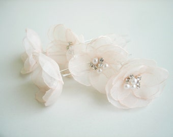 Blush  Wedding Hair Accessories, Wedding Hair Pins, Pale Pink Bridal Flower Hair Pins, Wedding  Head Piece,Blush Flower  Hair Piece