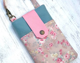 Phone Case, Phone Case with Wristlet, Leather Phone Case, Phone Purse, Phone Wallet, Crossbody Phone Case, Phone Bag, Merino Wool, Floral