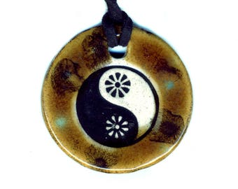 Yin and Yang Ceramic Necklace in Browns