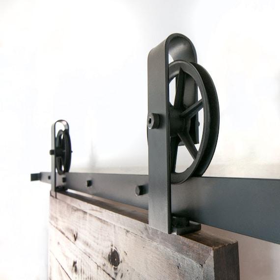 Vintage Industrial Top Mount Spoked Sliding Barn Door Hardware From