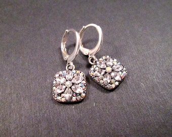 Rhinestone Flower Earrings, Silver Dangle Hoop Earrings, FREE Shipping U.S.