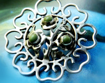 Vintage Flower Brooch / Sterling Silver Mexico