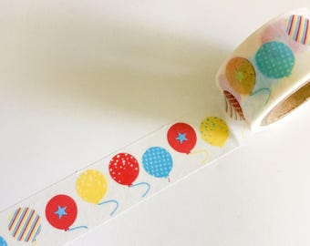PARTY BALLOONS Washi Tape Birthday Balloon Blue Red Yellow COLORFUL Roll Dots Stars Stripes pattern planner crafts planners cards card craft