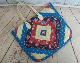 Diamond Tote Quilted Bag Cotton and Steel Wonderland Fabric.