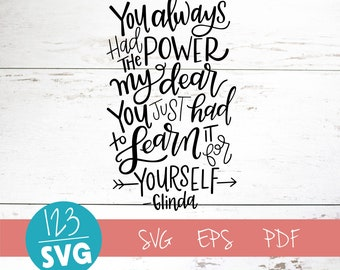You Always Had the power my dear, Glinda, Wizard of Oz SVG Cut File, digital file, svg, tribe, ladies, friends, love, eps, handlettered svg