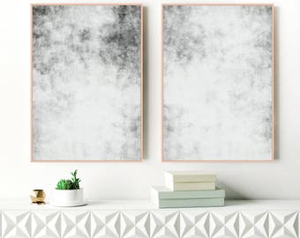 Grey Abstract Art, Set of Two Grey Art Prints, Two Large Gray Abstract Paintings, Printable Modern Art, Original Art, Extra Large Art
