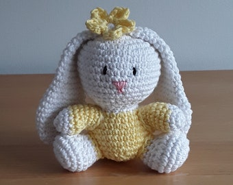 Cute small  cotton crocheted bunny in lemon and white