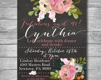 Chalkboard & Flowers Birthday Invitation / 40th / 30th /Printable Invite / Digital Invitation / Customized