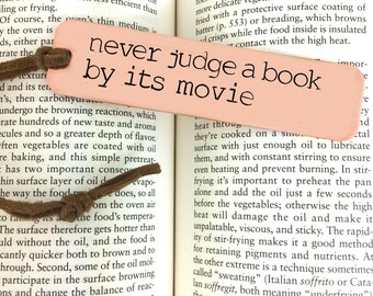 Metal Bookmark - Custom Book Mark, Book worm, Book lover, never judge a book by its movie, mother in law gift, mother's day gift