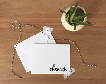 Black and White Cheers Stationery Set