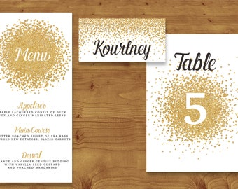 Gold Glitter Place Cards, Table Numbers, Menu Cards - Gold Wedding - Gold Glitter - Table Name - Name Card - Wedding Stationery
