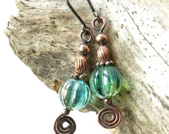 SALE Aqua earrings - blue Czech glass bead & copper spiral