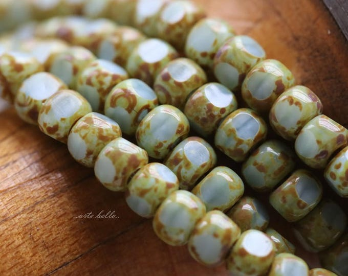 SKY TRICA SEEDS .. 50 Picasso Czech Glass Tri-Cut Seed Bead Size 6/0 (5708-st)