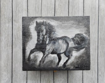 Jewelry box wood handpainted Black white gray horse wooden luxury gift boxes handmade artwork on storage chest unique gift trending items