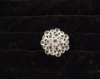 Teardrop and Round Crystals, Prong Set in Silver Tone Metal in a Slight Domed Brooch