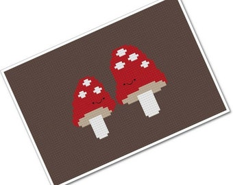 Kawaii Mushroom Pair PDF Cross-stitch Pattern - INSTANT DOWNLOAD