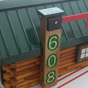 Engraved Chimney For One Log Cabin Mailbox: House Number Addition For  Shingled Or Metal Roof