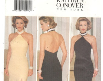 Butterick 3349  Size 14, 16, 18 Women's dress with cut-away shoulders and low back, collar, sewing pattern. Kathryn Conover designer. Formal