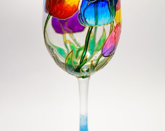 Mother Day Gift Floral wine glasses personalized, Tulips Wine Glass with saying, Bridal Party Wine Glasses Hand Painted