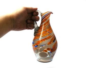 Glass Jug, vintage jug, vintage glass jug, jug, vintage glass, glass pitcher, milk jug, water jug, glass, antique glass, wine jug, retro jug
