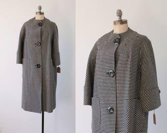 WINTER SALE 30% OFF! vintage coat   vintage 1960s coat   60s black and white coat   checkered coat   plaid coat   plaid 60s coat