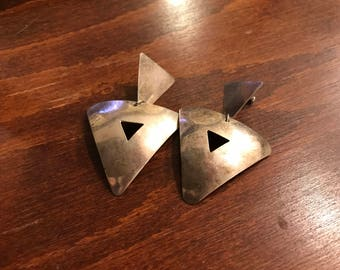 Vintage Silver Plate Triangle Earrings, Large, Boho, Punk, Industrial