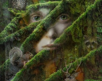 Forest, Eyes, Decor, Archival Print, Animals, Original Art, Woman, Wall Decor