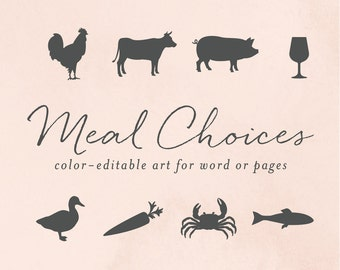 Meal Choice Clip Art, Wedding Icons, Chicken Clip Art, Cow Clip Art, Carrot Clip Cart, Seafood Icons, Fish Icon, Vegetarian Icon