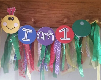 Baby Einstein Birthday banner made to resemble the catapillar with or without ribbon banner perfect for baby boy or girl.