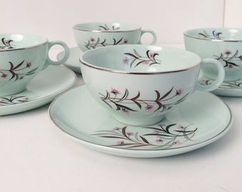 Universal Ballerina Mist China 4 cups and saucers