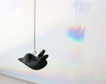 Cosmic Bird Necklace, Black Bird Necklace, Bird Jewelry, Animal Necklace, Minimalist Necklace, Cosmic Jewelry, Night Sky, Gift Women