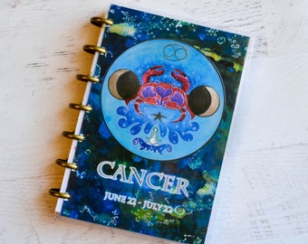 Planner Dashboard - Small Planner Cover - Cancer the Crab - Moon Planner - Disc Bound Planner - Planner Accessories - Arc Journal