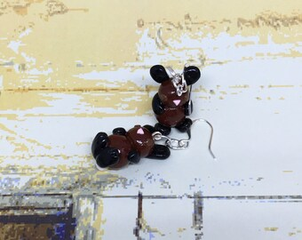 Black and Brown Rabbit Earrings, Bunnies, Animal Charms, Bunny Earrings, Polymer Clay, Animal Earrings, Animal Jewelry, Rabbits, Bunny, Buns