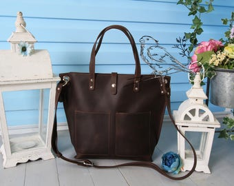 Tote bag with zipper,Leather tote bag with pockets,Leather tote with zipper,zipper tote bag,zipper bag, zipper tote bag pockets,brown purse