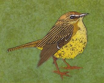 Warbler Art, Original Collograph, Print - Palm Warbler on Green 5