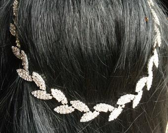 Bridal Headpiece, Leaf headband, Bridal Headband, Wedding Headpiece, Rhinestone Headpiece, Rhinestone Chain Headpiece,